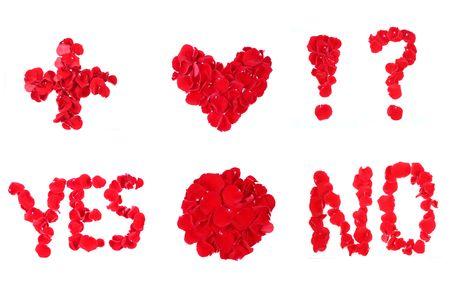 Love Symbols made from Rose Petals.