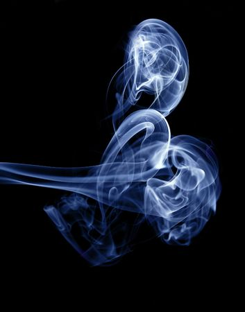 Blue Smoke isolated on black background Stock Photo