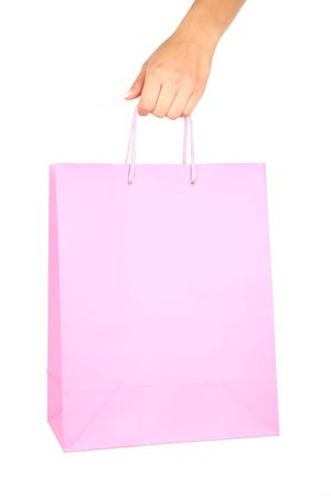 hand with Shopping bag isolated on white background