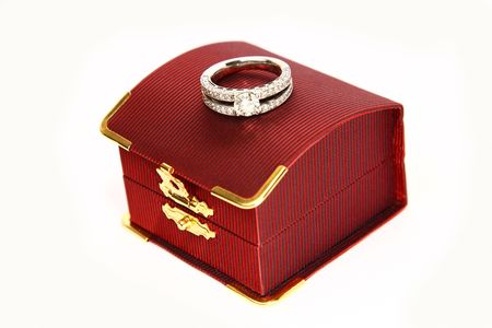 Wedding Ring with red box isolated on white background