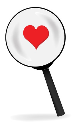Magnifying glass and Red Heart. Vector Illustration.