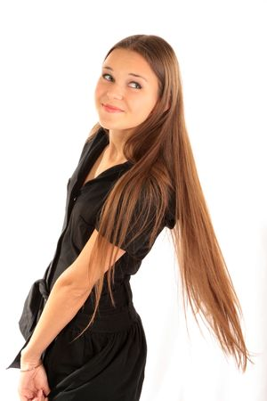 Beautiful girl with long hair on white background