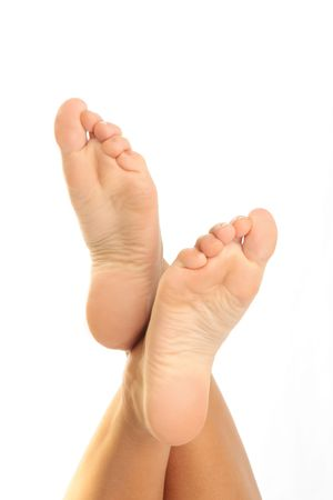 Woman Foots on white background Stock Photo
