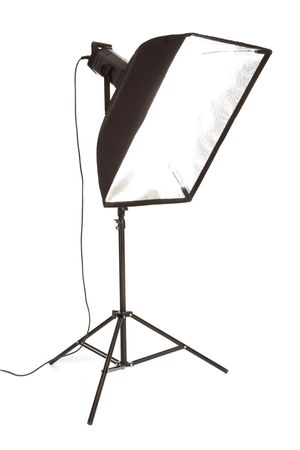 Studio flash with softbox isolated on a white background