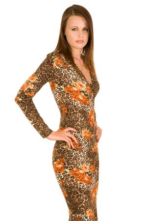 Half body portrait of fashionable teenager wearing leopard print dress, isolated on white background.