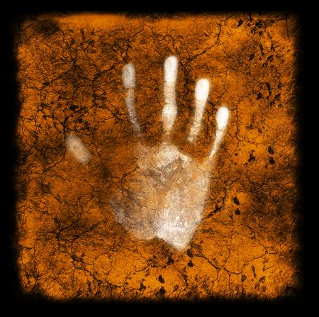 A hand print on a textured grunge background