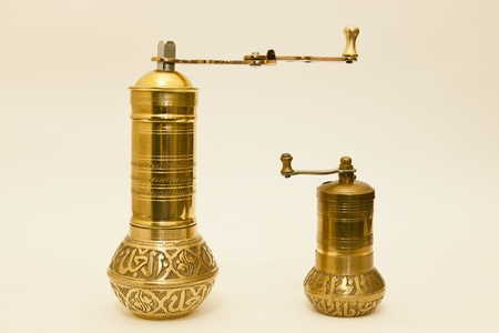 One large and one small spice or coffee grinder originally made in Turkey