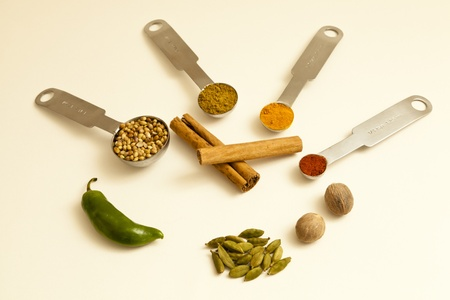 Coriander seeds, nutmeg, green chilli, cinnamon sticks, ground cumin, cardamon pods, cayenne and tumeric powder photo