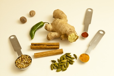 Coriander seeds, nutmeg, green chilli, cinnamon sticks, root ginger, cardamon pods, cayenne and tumeric powder photo