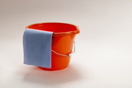 Bucket and cloth ready for cleaning Stock Photo