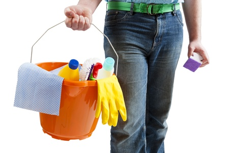 Young man with cleaning materials Stock Photo