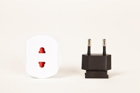 Two pin plug and adaptor Stock Photo