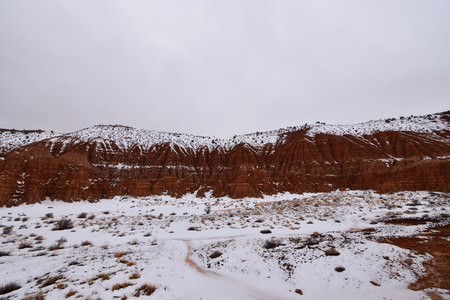 Panaca, Nevada - 2019_01.07: Snow covered Cathedral Gorge Stock Photo