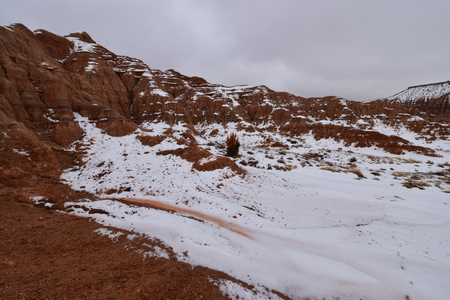 Panaca, Nevada - 2019_01.07: Snow covered Cathedral Gorge 写真素材