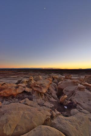 White Rock, New Mexico - 2019_01.11: Winter sundown over the otherworldly Bisti De-Na-Zin badlands Stock Photo