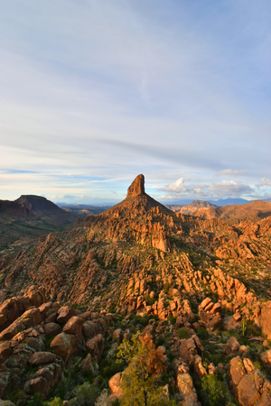 Peralta, Arizona - 2019_01.13: Cloudy trail through the Superstition Wilderness to Fremont Saddle
