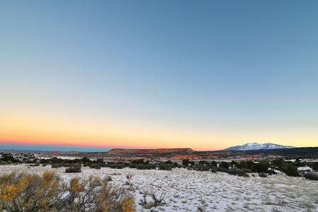 La Sal, Utah - 2019_01.19: Subzero sunrise over South Mountain