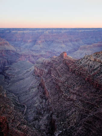 Colorful hazy dawn from the south rim of the Grand Canyon, Arizona