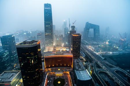 beijing CBD cityscape under heavy hazy air pollution 報道画像