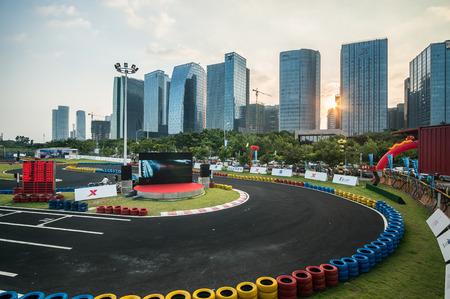 carting: Aerial view carting course at Xiamen GuanYinShan CBD Editorial
