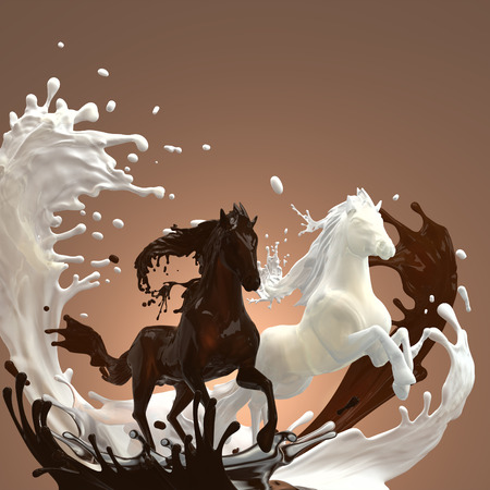 creamy milky and hot brownish chocolate liquid horses running gallop over mixed splashes making bunch of drops