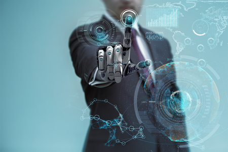 Homme d'affaires avec le travail Artificial robotique main sur l'interface holographique virtuelle. la technologie Future comme concept.