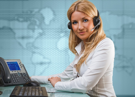 hands free device: online suport call center attractive blue eyed blonde talking hands free device