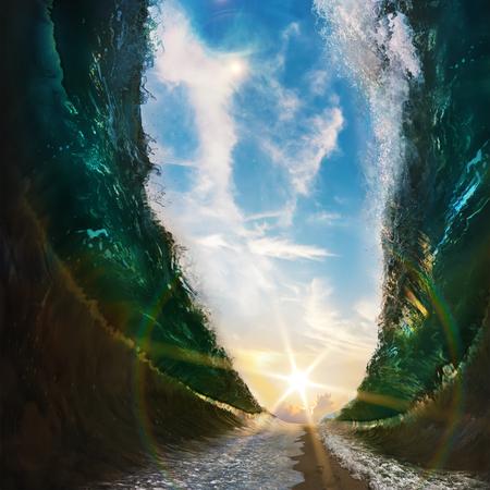 큰 파도. 발자취와 태양에 모래 경로에 의해 나누어 바다 모래에 인쇄