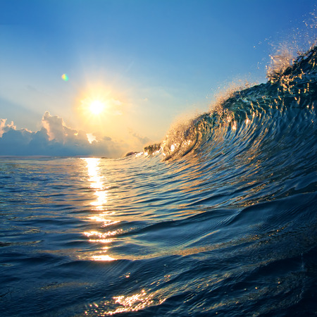 rough colored ocean wave falling down at sunset time