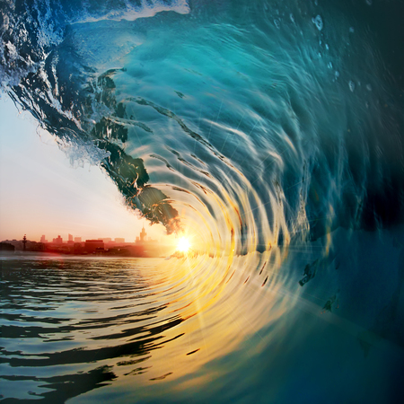 Beautiful ocean surfing wave at sunset beach. Tropical seaview design template