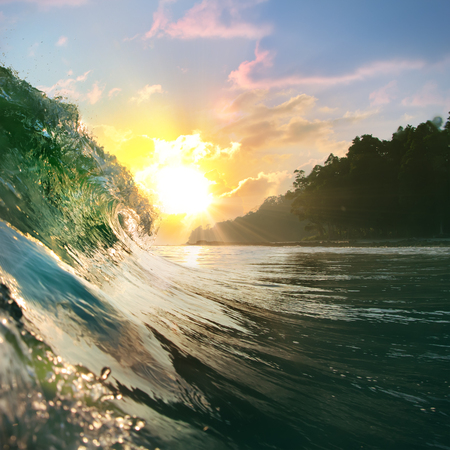 oceanic: Tropical oceanic background. Beautiful colorful ocean wave closing near beach