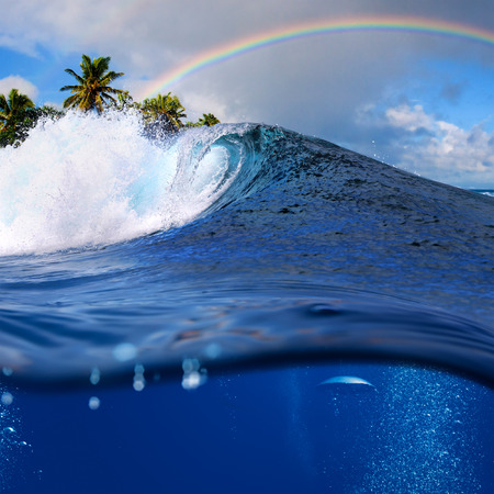 shorebreak: Perfect tropical ocean view splitted by waterline to two part. Shorebreak  breaking surfing wave. Palms and clouds in daylight with colorful rainbow.