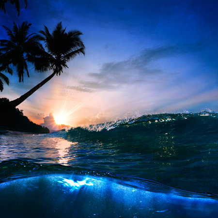 shorebreak: beautiful tropical palm beach with yellow sand breaking splashing shorebreak under sunset