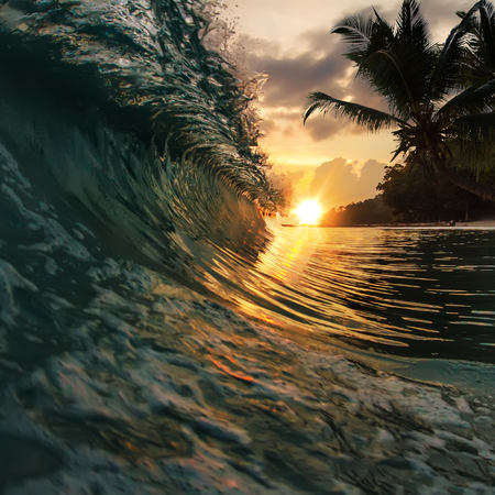 breaking wave: beautiful tropical palm beach with colorful breaking wave under sunset