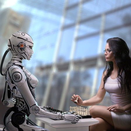 Fembot Robot Playing Chess with Woman Archivio Fotografico
