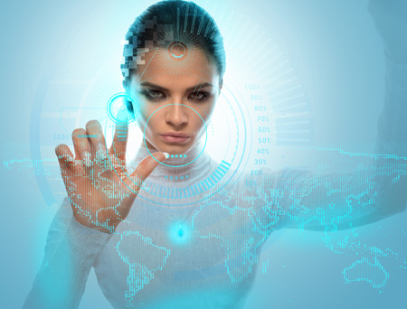 미래 기술 가상 홀로그램 인터페이스. 하이테크 소녀 감동 화면입니다. 비즈니스 미래의 사무실 가상 그래픽 작업 젊은 아가씨. 스톡 콘텐츠
