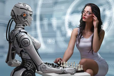 Fembot 로봇과 체스를 재생하는 여자