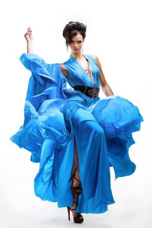 sexy girl dance: Attractive Brunette Dancer in Blue Dress on white background