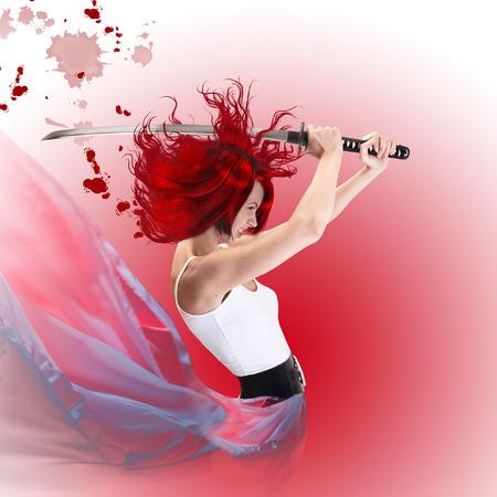 katana: red hair cartoon style girl attacking with samurai sword katana
