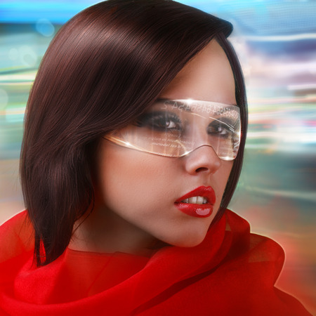 futuristic girl: a modern girl in red dress wearing futuristic digital transparent glasses on abstract shining background Stock Photo