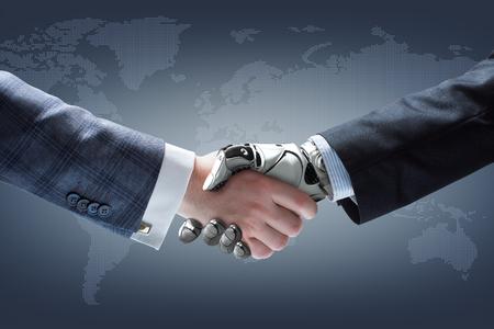 Uomo d'affari e la stretta di mano del robot con olografica globo terrestre su sfondo. La tecnologia di intelligenza artificiale Archivio Fotografico - 60891382