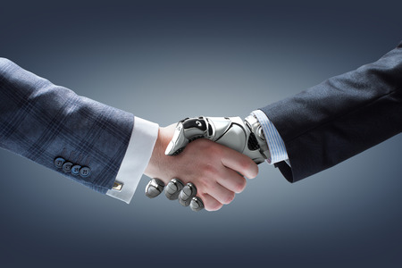 mech: Businessman and robots handshake with holographic Earth globe on background. Artificial intelligence technology