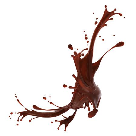 갈색 뜨거운 커피 또는 흰색 배경에 고립 된 초콜릿의 스플래시