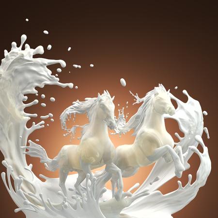 caballo bebe: lechosas caballos corriendo sobre salpicaduras blancas a través de gotas en el fondo de color marrón