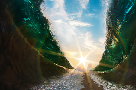 Big waves. Sea parted by a sandy path to the sun with footsteps print on sand