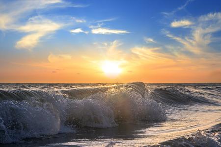 shorebreak: Tropical sunset with shorebreak waves Stock Photo