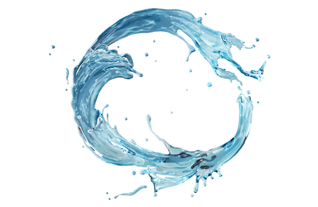 circular blue water ripple: Water splashing round frame. Aqua shape bent in circle. Clear liquid splash isolated on white background ready for design. Stock Photo