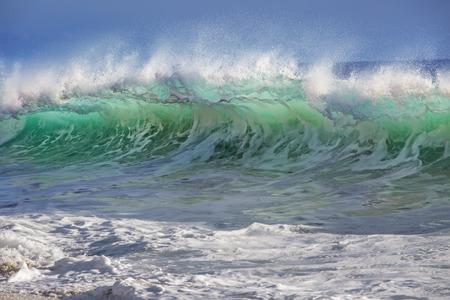 shorebreak: Beautiful Semi-transparent green-blue ocean wave. Hawaiian translucent Shorebreak at sunset time.