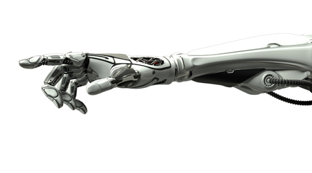 Futuristic design concept. A robotic mechanical arm pointing with index finger like a human hand. Cybernetic organism with Artificial Intelligence in virtual world. Isolated on white flat background