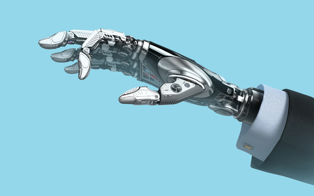 Robot hand in business suit with fingers holding empy space futuristic design template